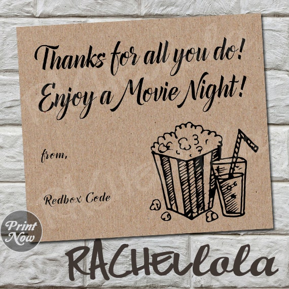 Delightful Kraft Thank You Redbox Code Teacher Movie Night Gift Tag