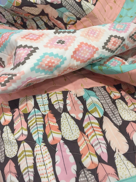 Aztec Arrows Feathers Baby Quilt Boho Baby Quilt Baby Girl