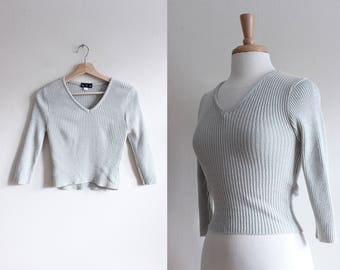 Vintage 1990s Shimmer Beige Rib Knit Cropped Sweater