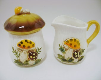 Vintage Retro 1978 Sears Roebuck and Co Merry Mushroom Sugar Bowl W/Lid and Mini Creamer Set Made in Japan, Serving Set, Collectible