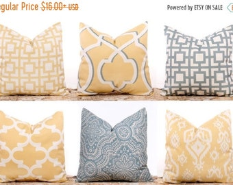 SALE ENDS SOON Yellow Pillow Covers, Gray Pillows, Saffron Yellow Throw Pillow, Lattice, Yellow and White Pillow, Ikat Pillows