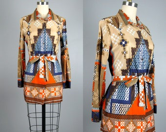 Vintage 1960s 1970s Tunic 60s 70s Funky Tunic Dress in Abstract Print Size M