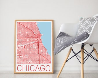 Chicago Map Poster/Chicago Flag/Chicago Map Art/Chicago Map Print/Chicago Poster/Chicago Print/Chicago Art/Chicago Map/City Map Art/Chicago