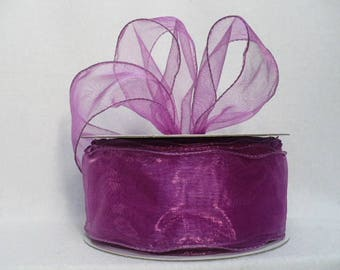 """Violet sheer organdy wired ribbon, sheer organdy wired ribbon size 2"""" x 20 yards"""