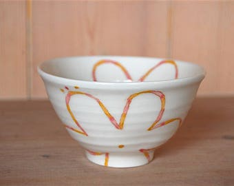White porcelain rice bowl-line flower