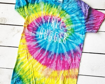 ADULT Tie Dyed TREE HUGGER Shirt Hippie World Peace Love Earth Day Tie Dye One Love