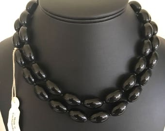 Big Black Oval Long Czechoslovakian Glass Bead Necklace With Tag Still On