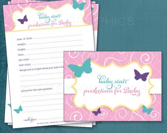 Butterfly.  Baby Stats / MadLib Adlib / I Hope Printable Cards, any Colors. Gender Neutral. By Tipsy Graphics
