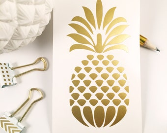 Gold Pineapple Decal - Monogram Decal - Monogram Sticker - Monogram Car Decal - Car Decal -Monogram - Vinyl Decal - Laptop Decal