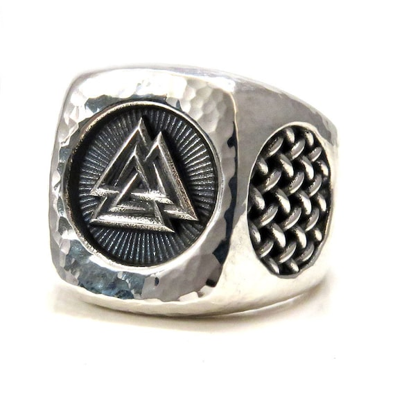 Ready to Ship Size 9.5-10 - Mens Valknut Symbol Silver Ring - Hammered - Handmade