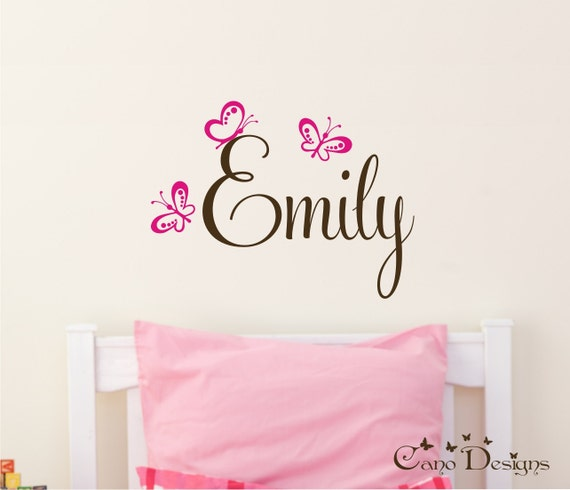 Personalized Name With Butterflies Custom Vinyl Wall Decals - Custom vinyl wall decals for nursery