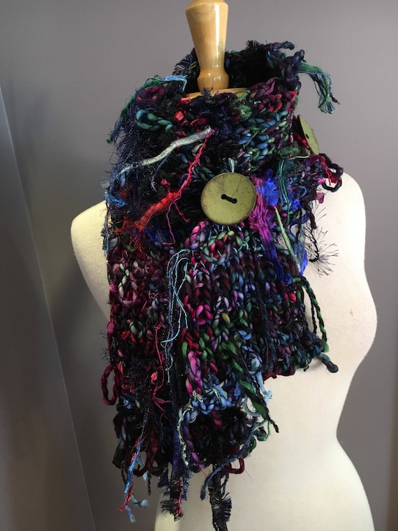 Handmade Knit Art Scarf with Buttons, Hand dyed spun mohair knit scarf, Fusion, fashion scarf, boho buttoned scarf, chunky, loops