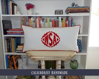 The Veronique Applique Framed Monogrammed King Pillow Sham - King 20 x 36