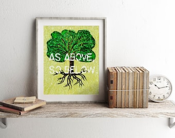 As Above So Below, Tree of Life, As Above So Below Print, Tree of Life Print, Pagan Print, Pagan Home Decor, Witch Print, Witch Home Decor