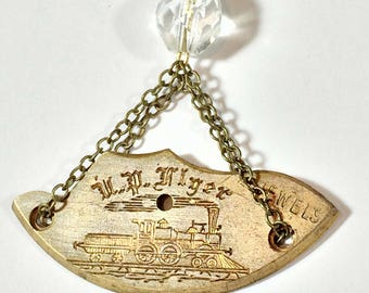 Steampunk Necklace, Steam Engine Locomotive Jewelry - Free Domestic Shipping