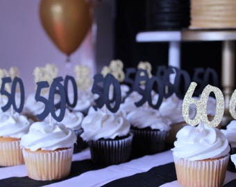 Large Milestone cupcake toppers// 50th birthday// 18th birthday party decorations