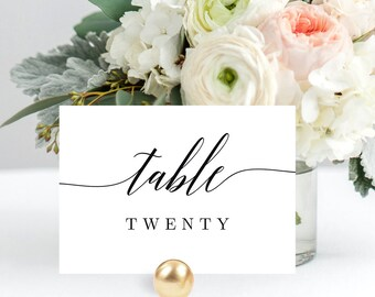 Editable Table Number Card Template - Printable Table Number or Table Name Cards Instant Download - Modern Script #MSC