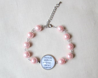 Practically Perfect In Every Way Bracelet - Quote Mary Poppins Pink Pearl Chunky - Adjustable Jewelry For Women Jewellery - Bookworm Gift