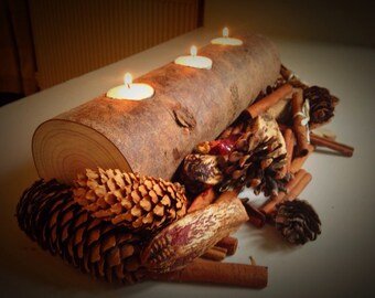 Pine Log Tea Light Holder - Christmas Table Centrepiece