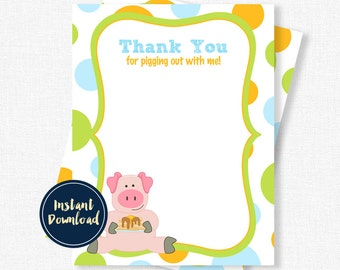 Pig Thank You, Birthday Thank You Cards, Pancake Pig Thank You Cards, Pig Notecards, Boy Thank You Cards Printable INSTANT DOWNLOAD