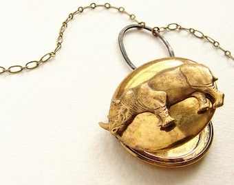 Rhinoceros Locket Necklace - vintage locket necklace, brass jewelry, rhino locket, animal jewelry