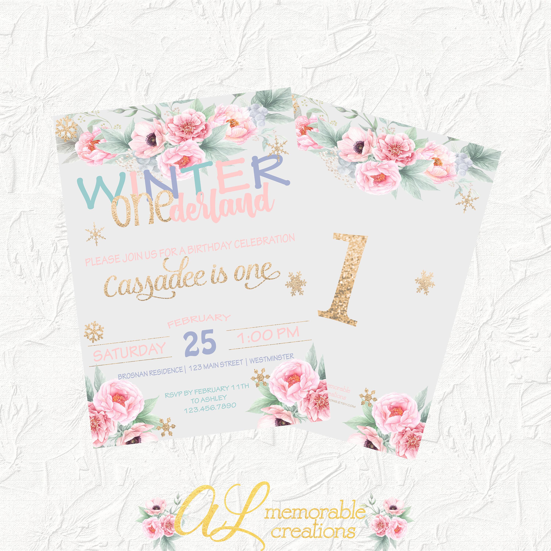 Winter Onederland Invitation Girl Birthday Invitation First