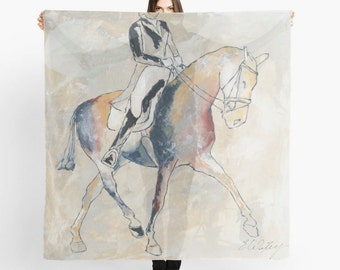 Limited Edition Scarf, Large scarf, Equestrian Scarf, Equestrian Style, Equestrian art, Horse painting scarf, Dressage Horse