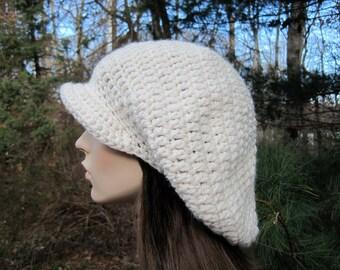 Womens Winter Hat, Crochet Slouchy Hat, Crochet Womens Hat, Adult Newsboy Hat, Womens Chunky Hat, Womens Fashion, Crochet Toque, Ivory