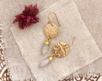 Moonstone Gold Earrings with Hammered Disc / Boho White Gemstone Dangle Earrings / Bohemian Trendy Modern Earrings with Gem Stones