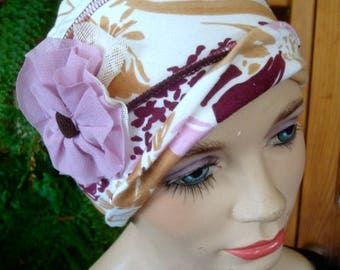womens hat chemo hat womens hat ooh lala hat cloche rayon  headcover chemo gift cream floral