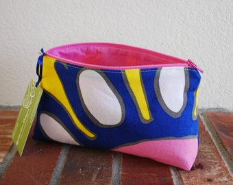 Medium Fabric Zippered Pouch / Bag with Flat Bottom & Full Lining - Yellow, Blue, Pink, and White Floral Fabric with Pink Lining