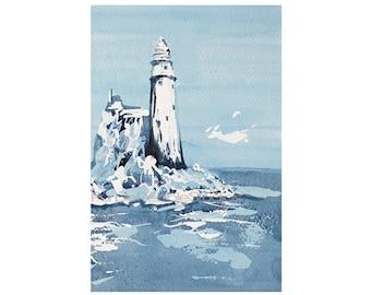 Lighthouse print, abstract watercolour, ocean art print, Giclee seascape lighthouse print Blue watercolour print, 6 x 4, 12 x 8,