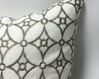 White and Brown Geometric Embroidery