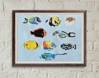 cool cross stitch, FISH, modern counted cross stitch, counted cross stitch, cross stitch pattern, hawaii embroidery, underwater animals