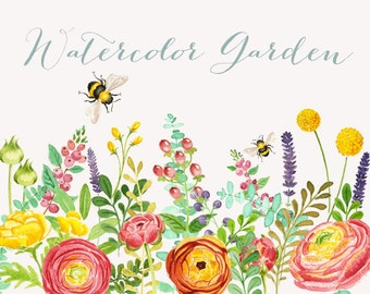 Watercolor Garden Clipart: Instant download wedding bridal invitation clipart