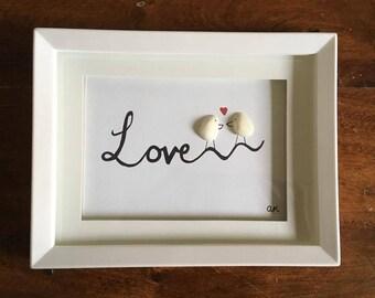 Handmade, Custom Beach Art - Love Birds