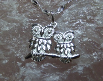 Sterling Silver Owl Necklace.  Mummy and Baby Owl Pendent.