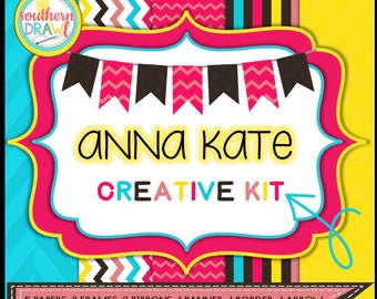 Digital Scrapbooking Papers and Frames ANNA KATE Creative Kit