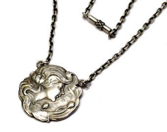 Antique Art Nouveau German sterling silver maiden and water lilies medallion necklace
