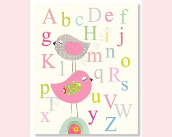 Nursery Alphabet Print, Baby Girl Nursery Print, Grey Pink Nursery Print, ABC Nursery Art, Birds Alphabet Print, Alphabet Art