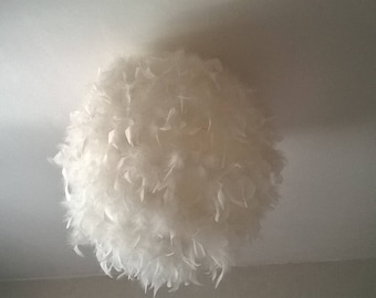 Lamp shade pendant fixture ball with white feathers
