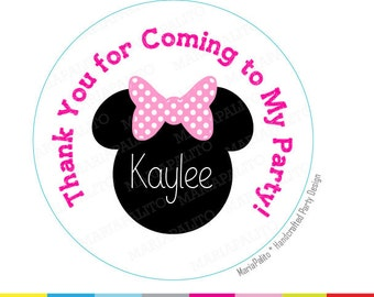 Minnie Thank You Stickers, Polka dot Bow Minnie Birthday Stickers, PRINTED round Stickers, tags, Labels A1297