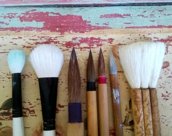 Vintage Chinese Sumi Ink Watercolor Wash Calligraphy Paint Brushes Set of 7 Artist Gift Bamboo Brush Squirrel Bristle Bamboo Chinese Brush