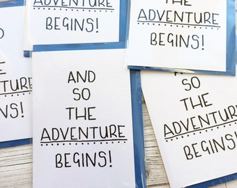 Adventure begins card, good luck on travels card, starting university card, new school card, minimalist adventure card, new home abroad card