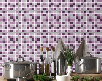 Lilac Mosaic - Self Adhesive Tile Stickers - Mosaic - Tile Stickers - Tile Decals - PACK OF 24 Tile Decals - SKU:LilMo