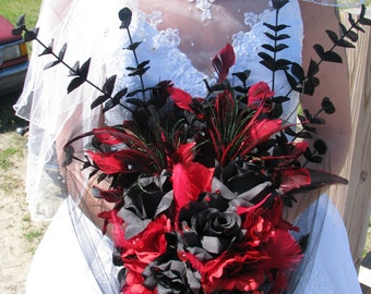 Gothic Black and Red Bouquet