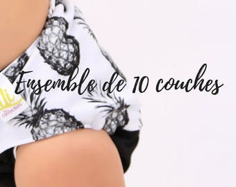 Ensemble de 10 couches lavables
