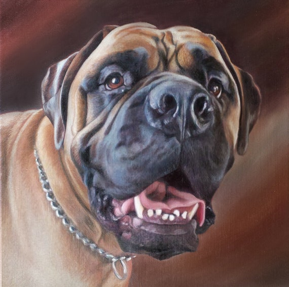 Custom Pet Portrait  - CUSTOM OIL PAINTING - Dog Painting - Dogue de Bordeaux