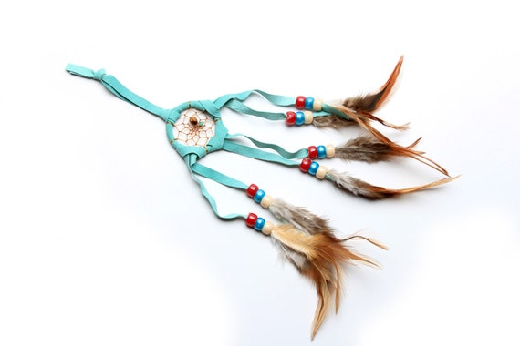 Sm Handmade Mint Navajo Dream Catcher with turkey feathers, Pink and Turquoise beads, indian boho gypsy
