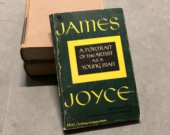 James Joyce Book Portrait of an Artist as a Young Man Vintage Distressed Green Paperback 1969 Print